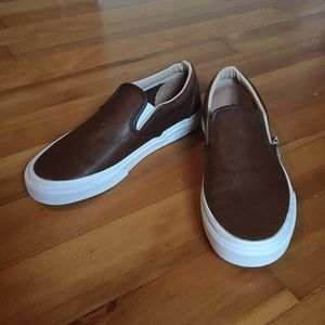 Vans leather slip ons